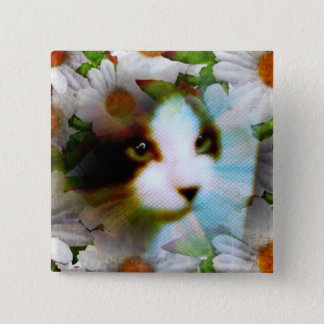 snowshoe canvass kitty pinback button