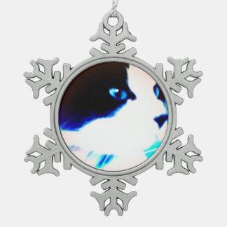 snowshoe cartoon like kitty snowflake pewter christmas ornament