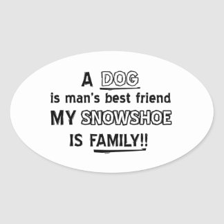 SNOWSHOE Cat Designs Oval Sticker