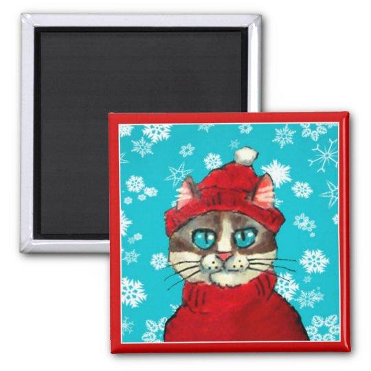 Snowshoe Cat Winter Christmas magnet