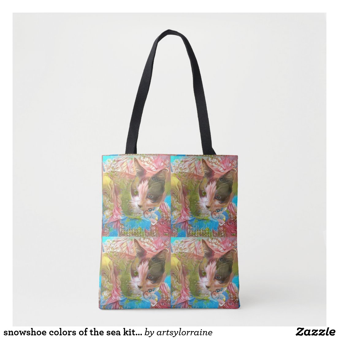 snowshoe colors of the sea kitty tote bag