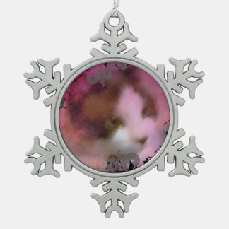snowshoe dreamy kitty snowflake pewter christmas ornament