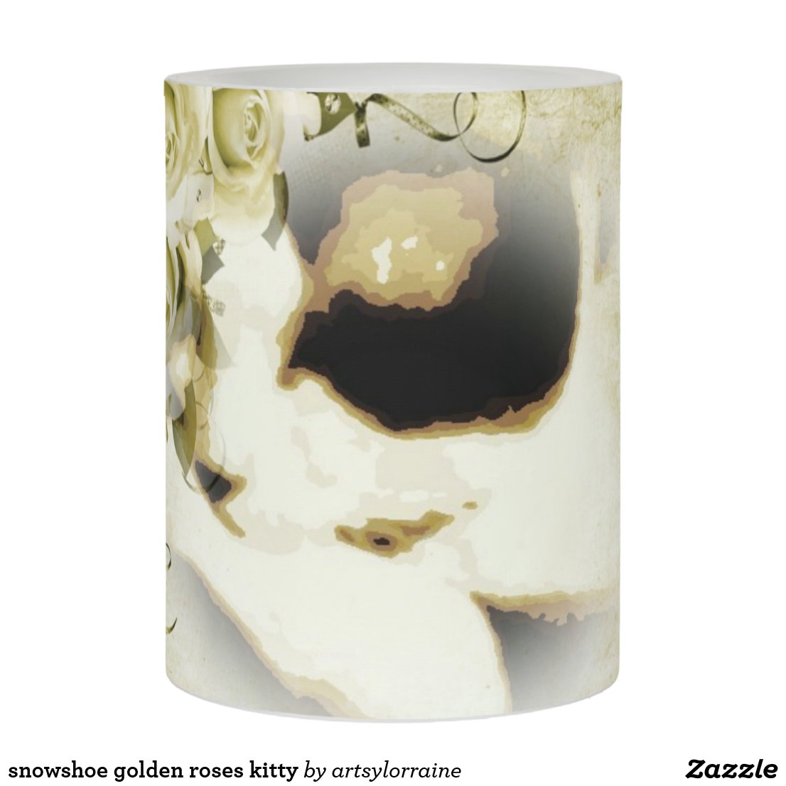 snowshoe golden roses kitty flameless candle