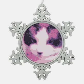snowshoe gritty art kitty done in pink snowflake pewter christmas ornament