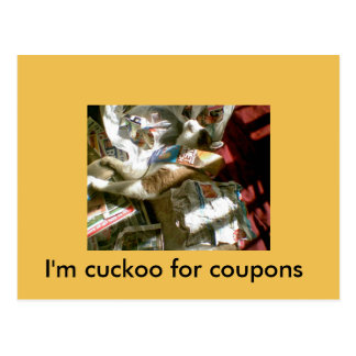 snowshoe I'm cuckoo for coupons kitty Postcard