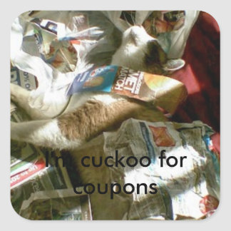 snowshoe I'm cuckoo for coupons kitty Square Sticker