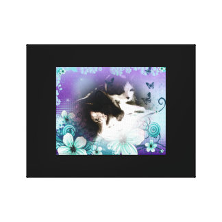 snowshoe kitty hiding in the flowers canvas print