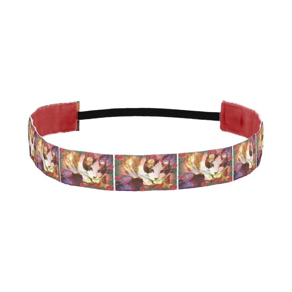 snowshoe kitty in the red roses athletic headband