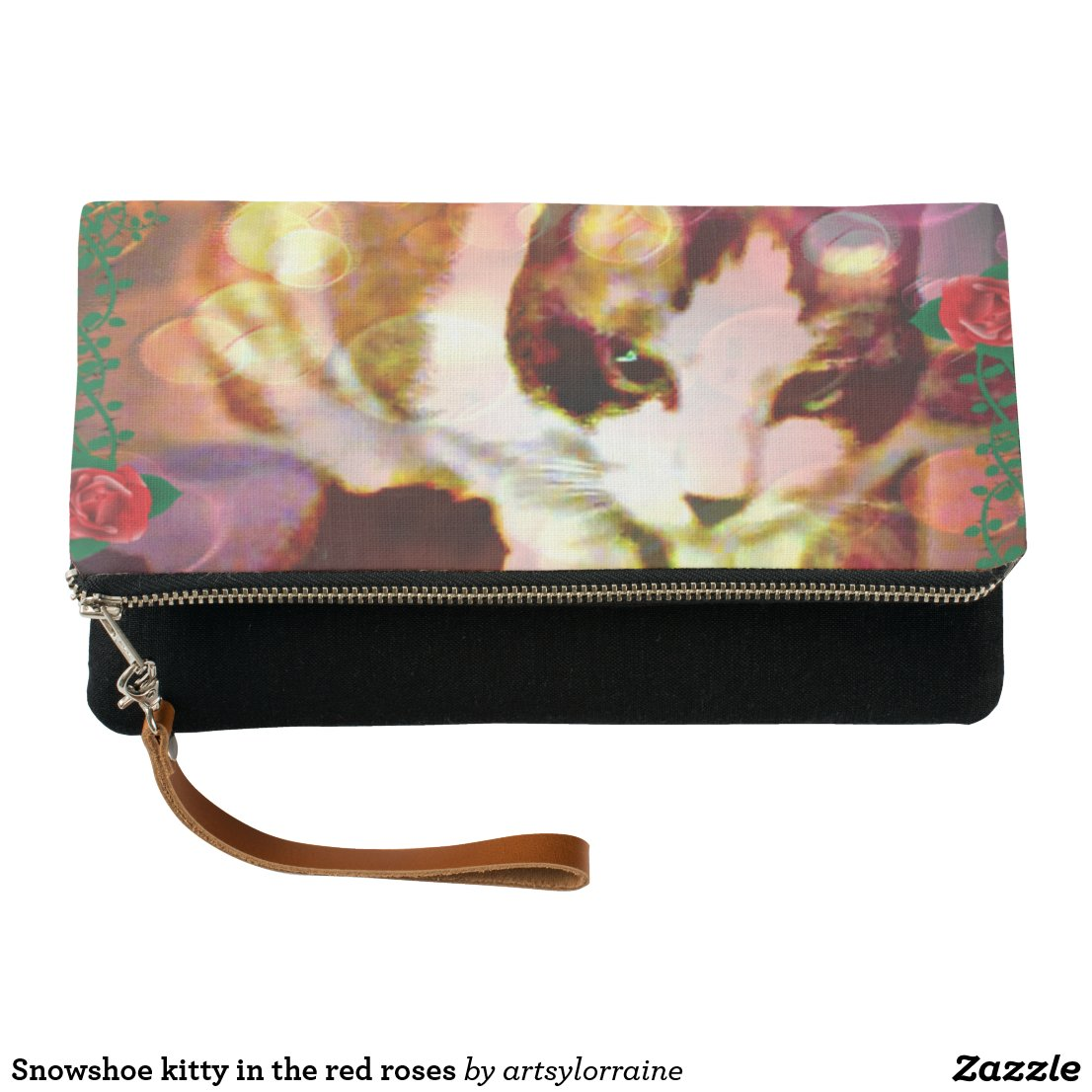 Snowshoe kitty in the red roses clutch