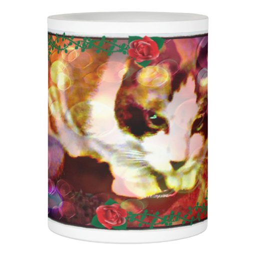 snowshoe kitty in the red roses flameless candle