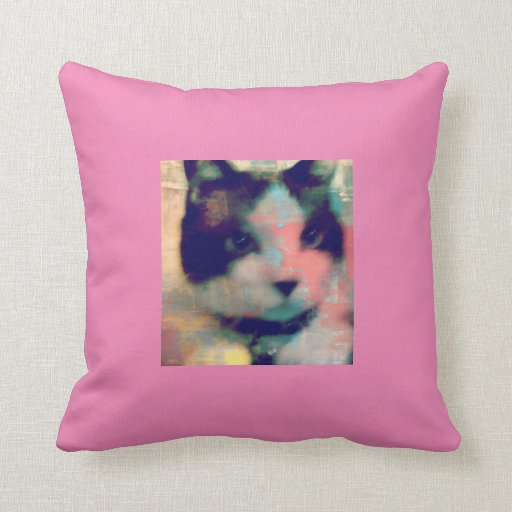 snowshoe paint party kitty throw pillow