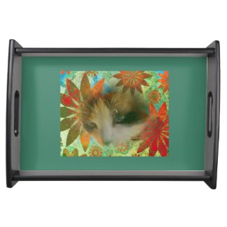 snowshoe sixties flower child kitty serving platters
