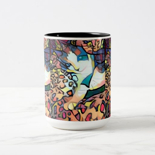 snowshoe stain glass kitty Two-Tone coffee mug