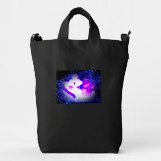 snowshoe toxic purple double vision kitty duck canvas bag