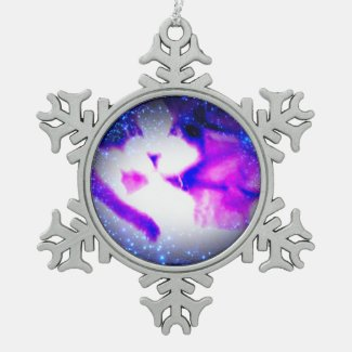 snowshoe toxic purple double vision kitty snowflake pewter christmas ornament