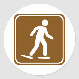 Snowshoe Trail Highway Sign Classic Round Sticker