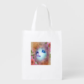 snowshoe victorian lace and flowers kitty grocery bag
