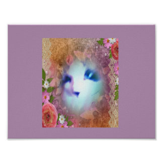 snowshoe victorian lace and flowers kitty poster