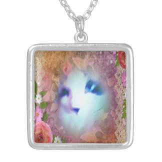 snowshoe victorian lace and flowers kitty square pendant necklace