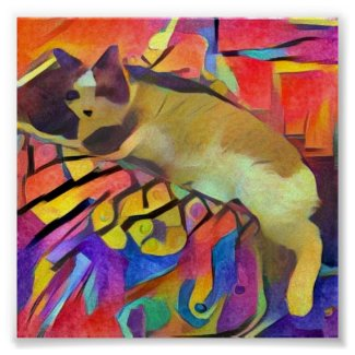 snowshoe watercolor cartoon kitty poster