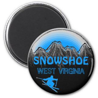 Snowshoe West Virginia blue ski magnet