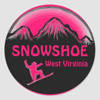Snowshoe West Virginia pink snowboar stickers