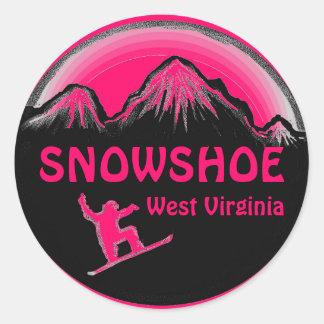 Snowshoe West Virginia pink snowboar stickers