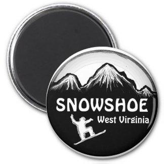 Snowshoe West Virginia white snowboard magnet