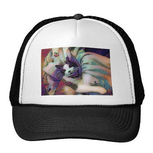 snowshoe winter sketch kitty trucker hat