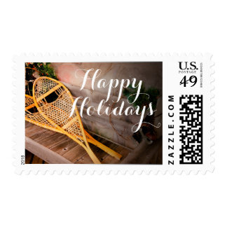 Snowshoes and old ice skates postage stamp