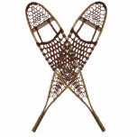 "Snowshoes Statuette<br><div class=""desc"">A crossed pair of snowshoes. There are several different styles of traditional snowshoes. Those pictured here are made of Ash and moosehide babiche (webbing) in the Alaskan pattern. Longer and thinner than some other styles, such as the bearpaw, Alaskan snowshoes allow for a more natural gate and are well suited...</div>"