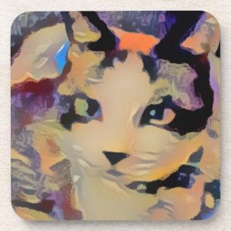 snowshow purple overtones kitty beverage coaster