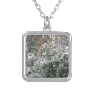 Snowstorm 1 square pendant necklace