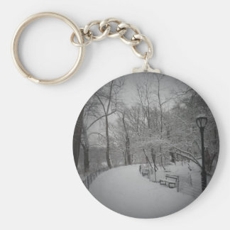 Snowstorm, Central Park, New York City Basic Round Button Keychain