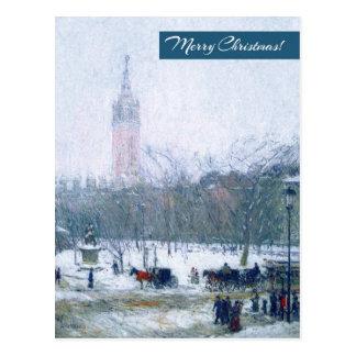 Snowstorm, Madison Square. Christmas Postcard