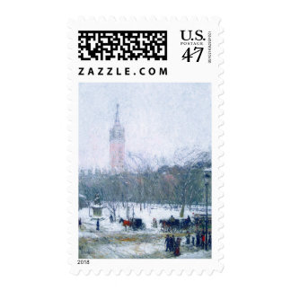 Snowstorm, Madison Square. Fine Art Postage Stamp