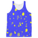 Snowstorm of stars and snowflakes on royal blue All-Over-Print tank top