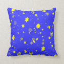 snowstorm of yellow flakes and stars throw pillow