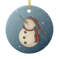 Snowstorm Snowman Ceramic Ornament