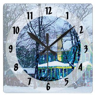 Snowstorm Square Wall Clock