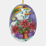 Snowwoman and Flowers Double-Sided Oval Ceramic Christmas Ornament