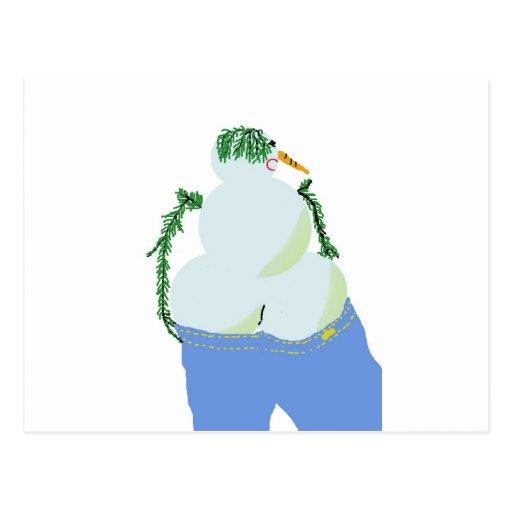 snowwoman w butt in jeans postcards