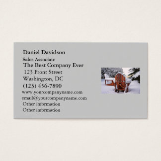 Snowy Adirondack Chairs in Winter Photo Business Card