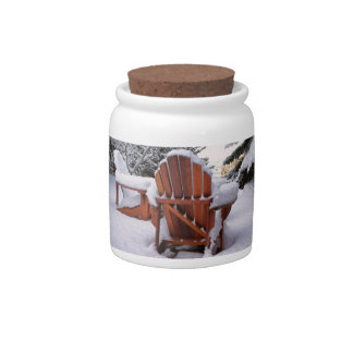 Snowy Adirondack Chairs in Winter Photo Candy Dishes