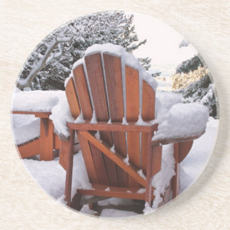 Snowy Adirondack Chairs in Winter Photo Drink Coaster