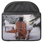Snowy Adirondack Chairs in Winter Photo MacBook Pro Sleeve