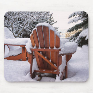 Snowy Adirondack Chairs in Winter Photo Mousepads