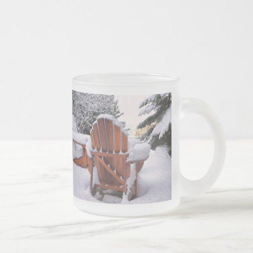 Snowy Adirondack Chairs in Winter Photo Coffee Mugs