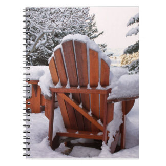 Snowy Adirondack Chairs in Winter Photo Notebook