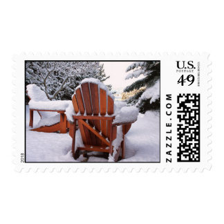 Snowy Adirondack Chairs in Winter Photo Stamps